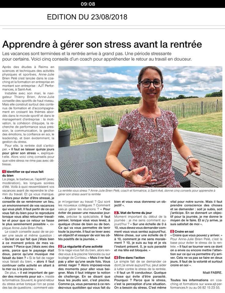 Ouest France 23/08/2018 - Apprendre à gérer son stress à la rentrée